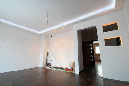Modern apartment interior with LED ceiling lights